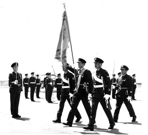 1 Sqn Colours march past