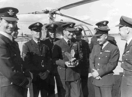 Sqn Ldr Norman Walsh with the Jacklin Trophy