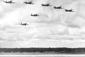 Seven Spitfire 22s in formation