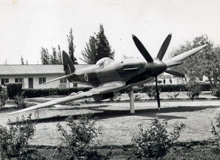 Spitfire at the gate at Thornhill Air Base